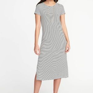 Old Navy Striped Jersey Knit Midi Tee Dress